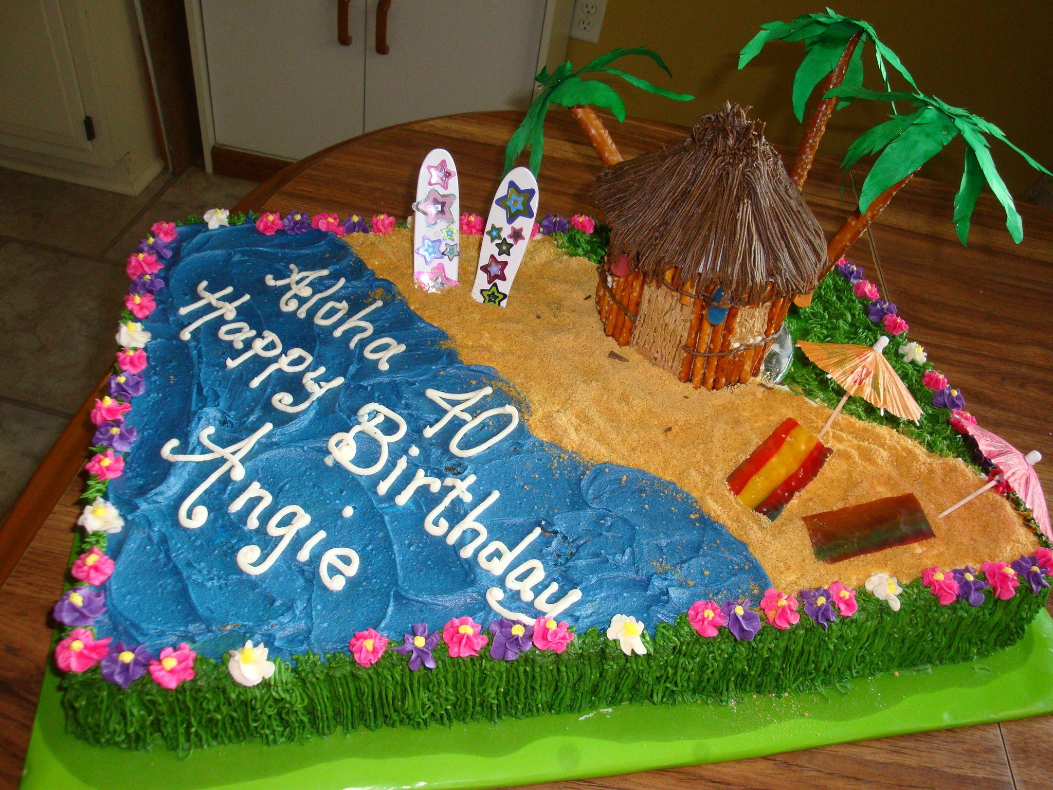40th Birthday Luau Cake