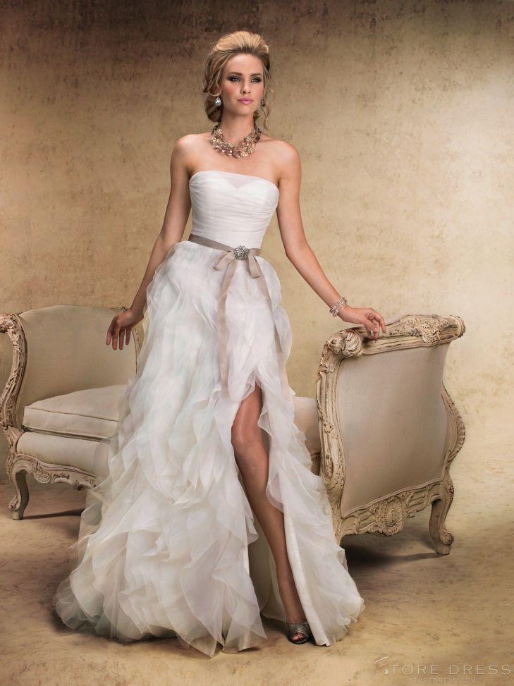 Top Fashion ALine Strapless Court Chiffon Wedding Dress at