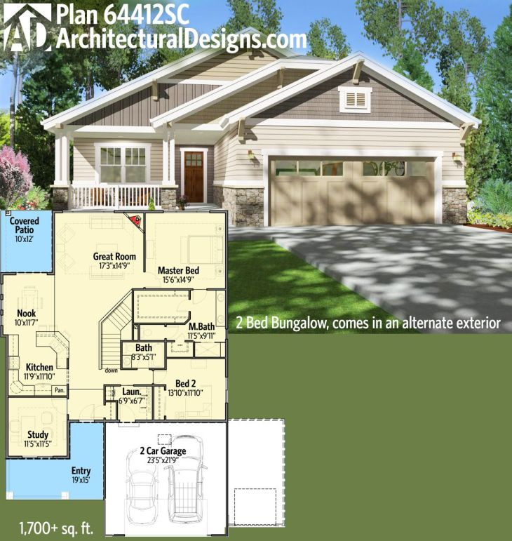Architectural Designs Bed Bungalow House Plan SC So good it