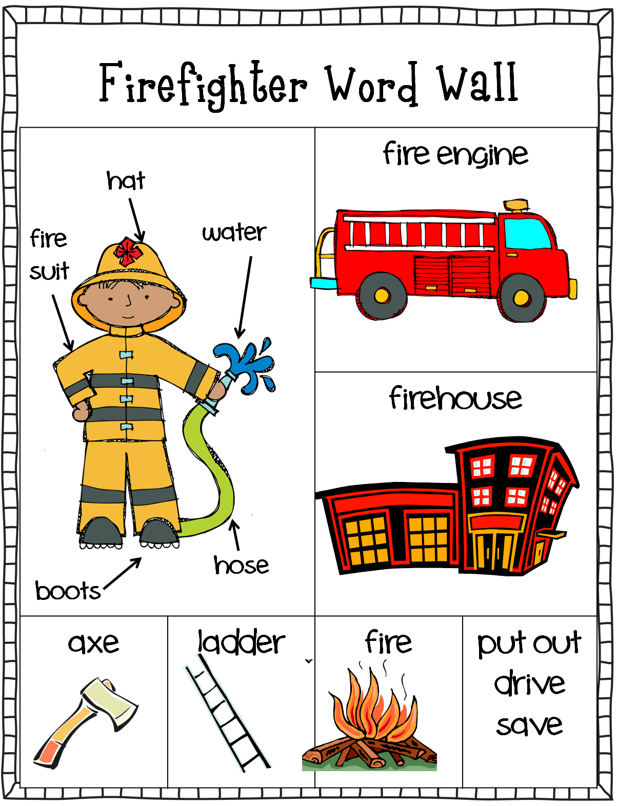 Free Firefighter Writing Center Word Wall And Stationary