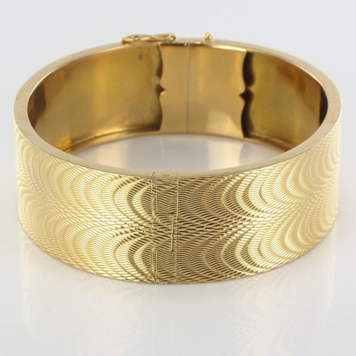 s French Moire Engraved Gold Bangle Bracelet Bangle Work
