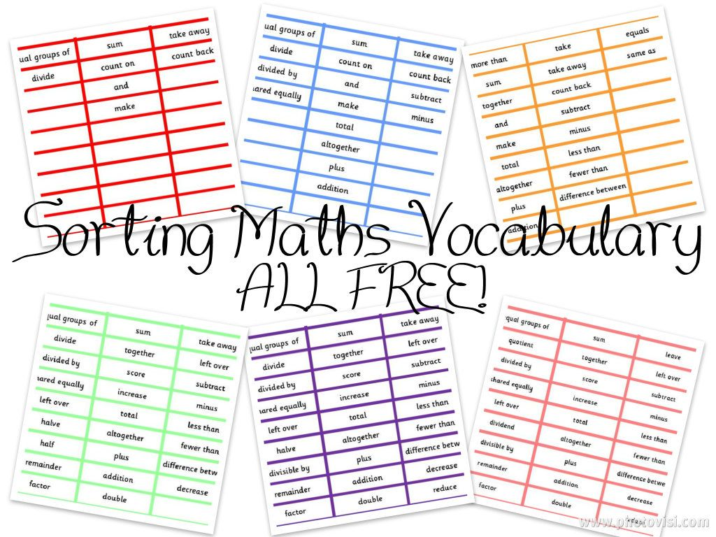 Sorting Maths Vocabulary Activities Differentiated Six Ways