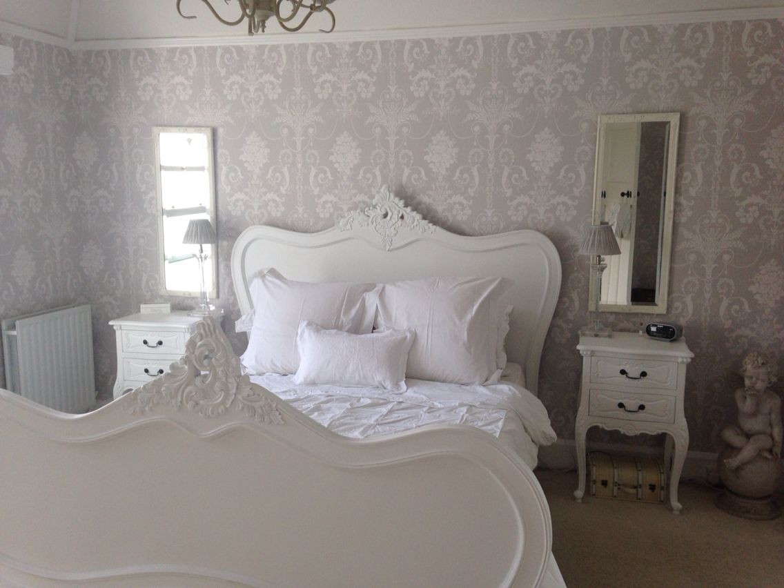 Calm Grey And White Bedroom With Laura Ashley Josette Wall