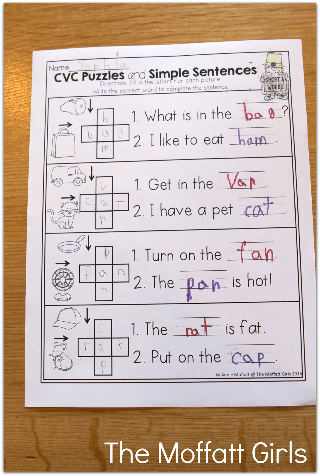 Simple Crossword Puzzles With Cvc Words For Beginning