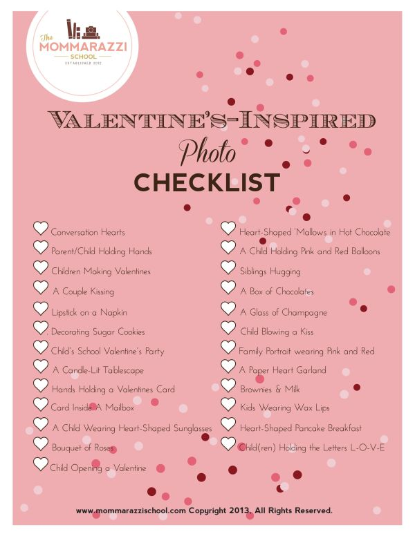 Free Valentine's Day Photo Checklist Printable | The ...