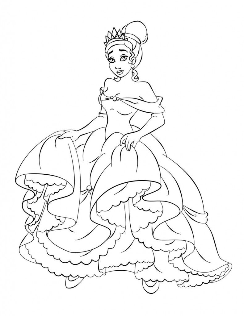 Free Princess Tiana Coloring Pages Coloring Pages Pinterest