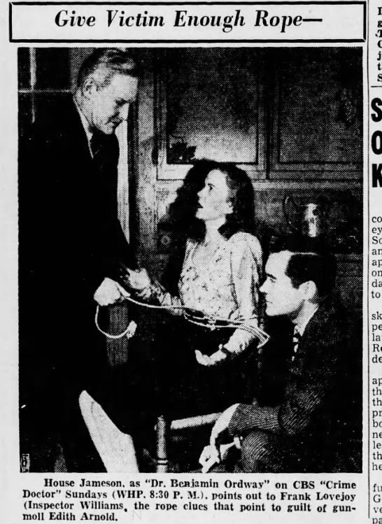 House Jameson; Frank Lovejoy; Edith Arnold. Crime Doctor ...