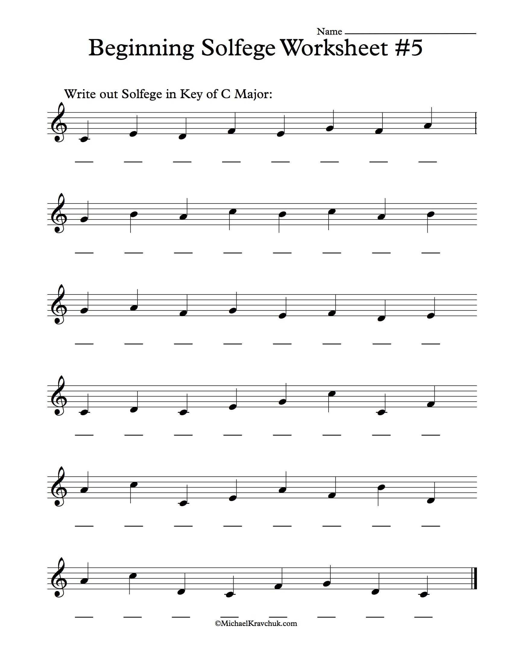Beginning Solfege Worksheet 5 For Classroom Instructions