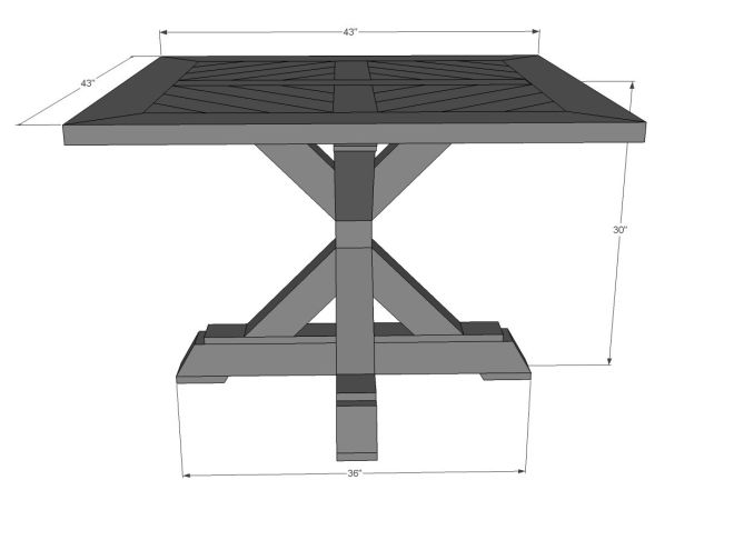 Ana white build a square x base pedestal dining table