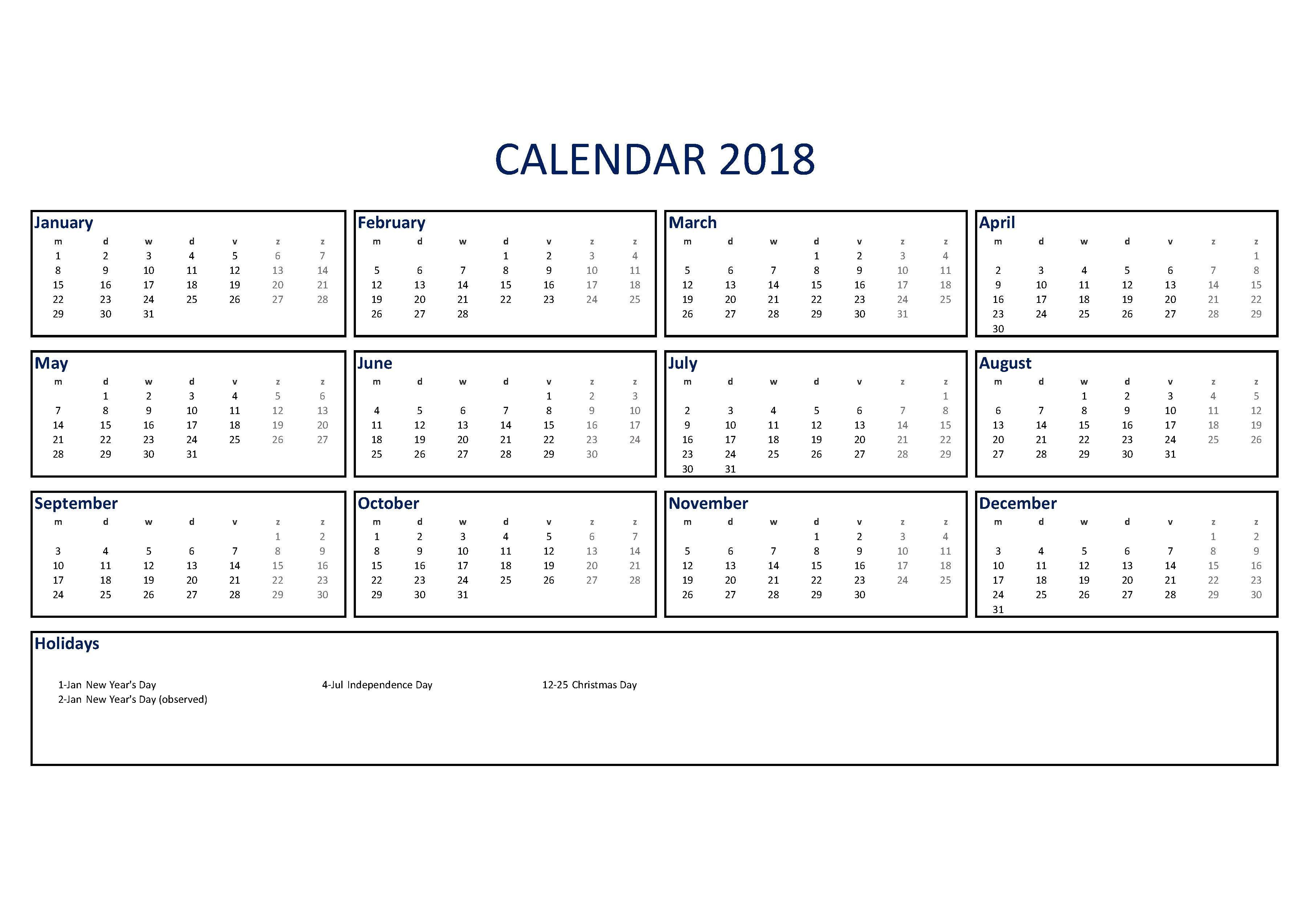 Calendar Excel A3 Size
