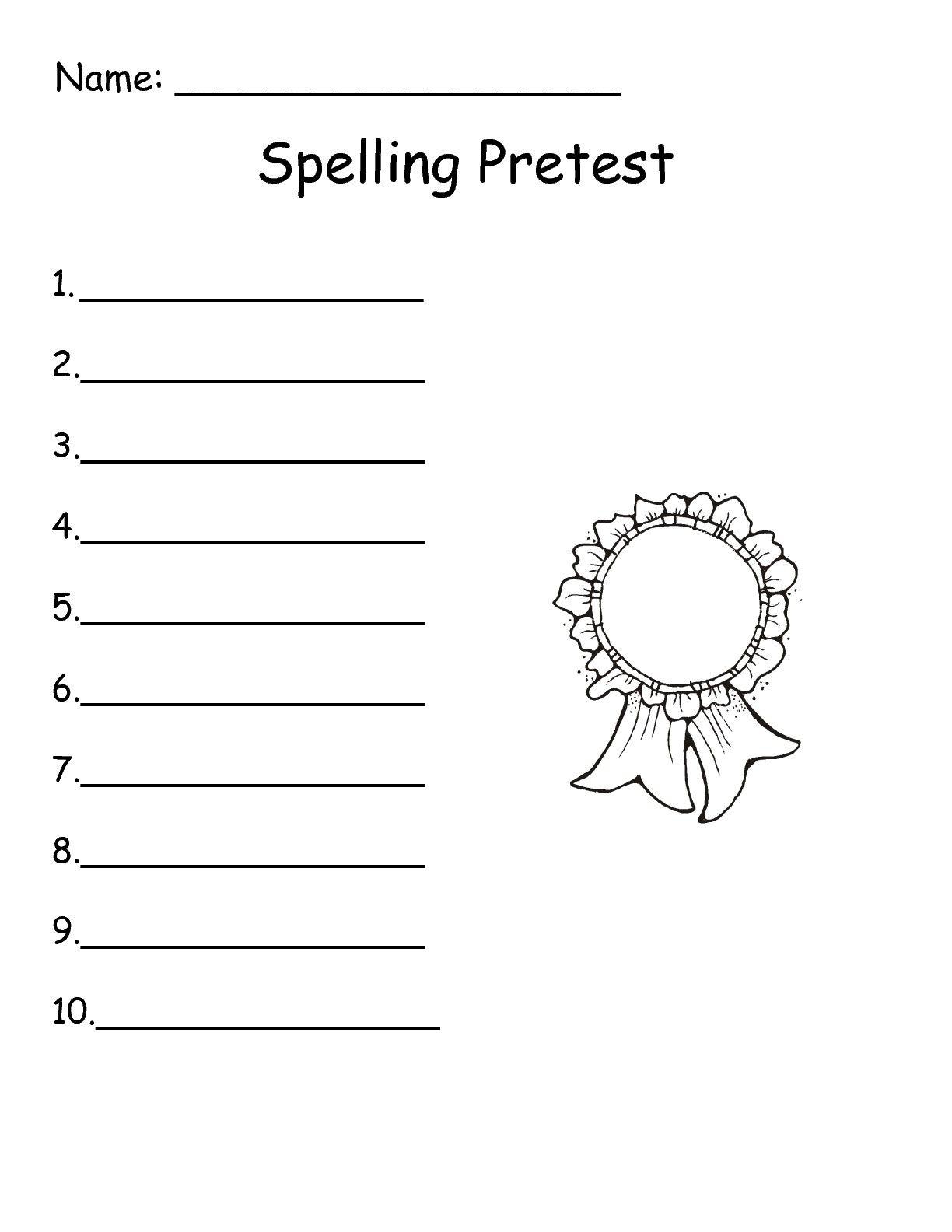 Wonders 1st Grade Spelling Test Paper