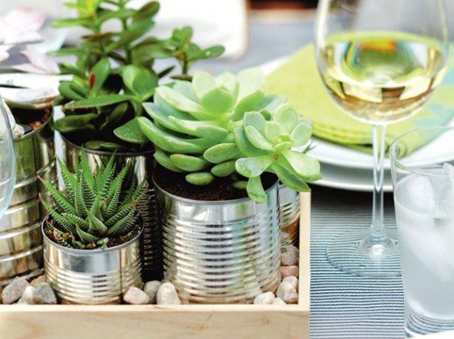 Dcoration De Table DIY Conserves Pot Plantes Pinteres