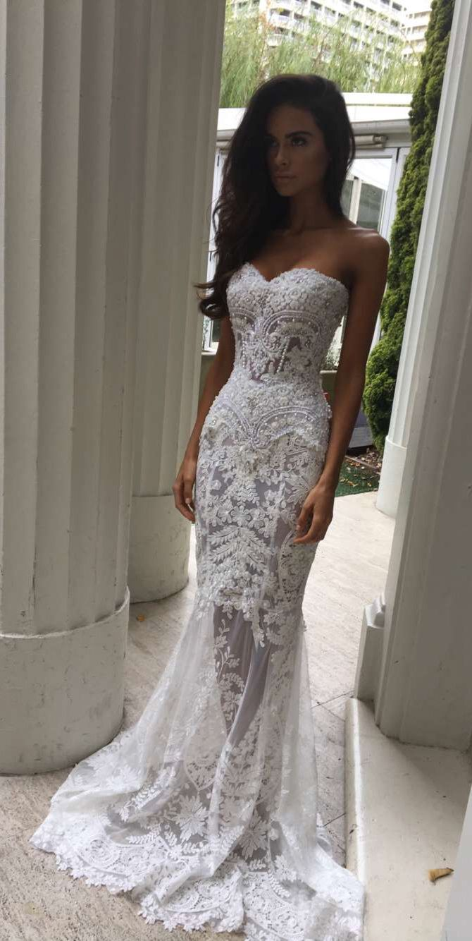 Charming SheathColumn Sweetheart Court Train Lace Wedding Dresses