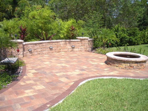 keystone patio pavers designs Brick Paver Patio, Firepit and Freestanding Wall
