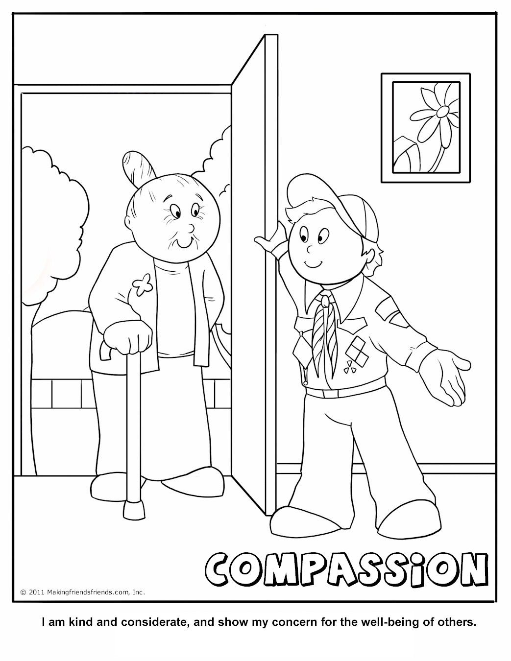 Compassion Coloring Page A Cub Scouting Core Value