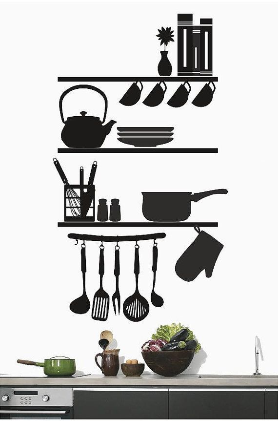 kitchen shelves utensils kitchen wall decals kitchen on wall stickers for kitchen id=26689