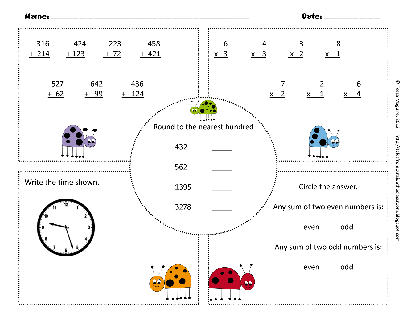 Common Core Math Worksheet For 3rd Grade