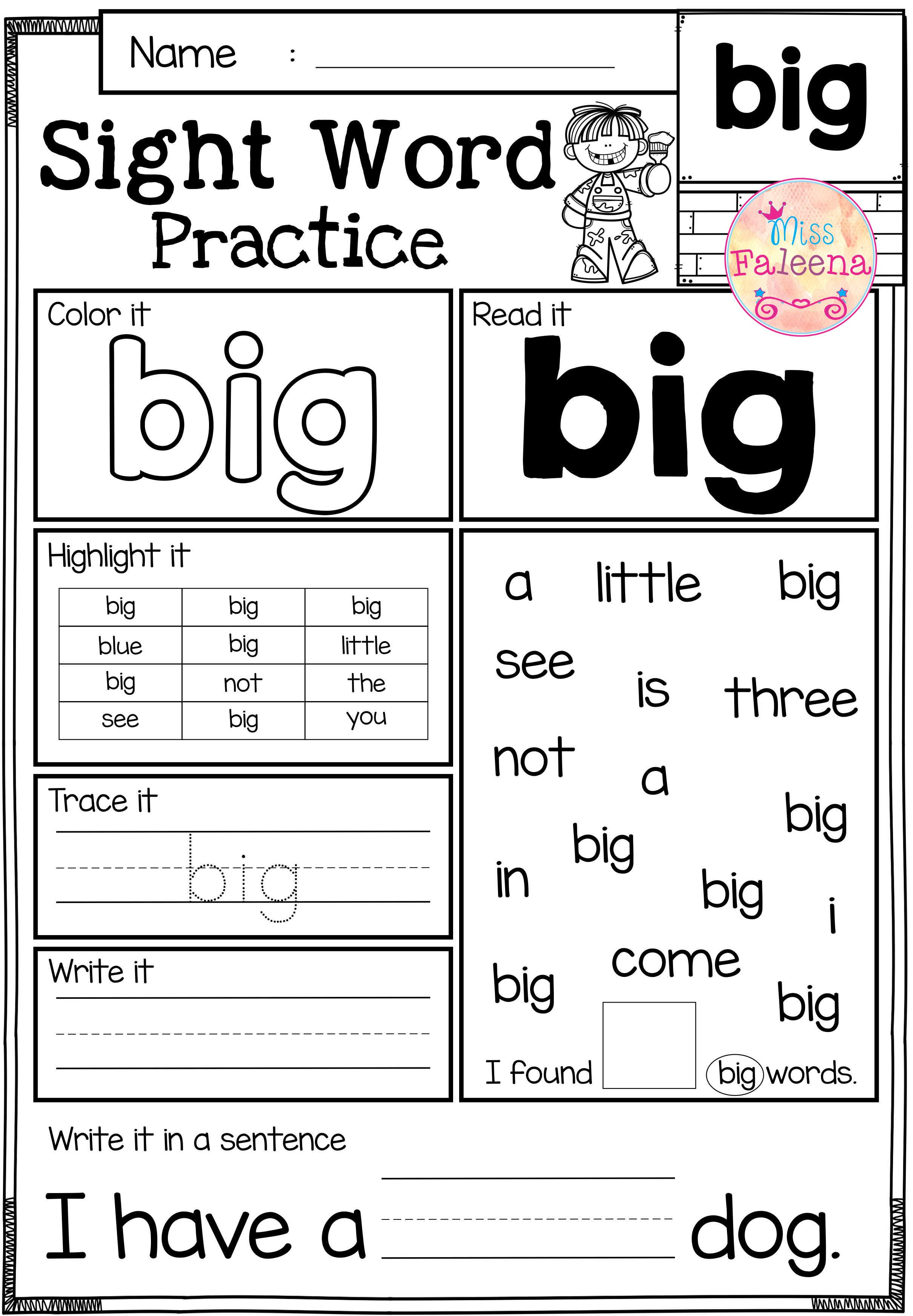 Sight Word Practice Pre Primer
