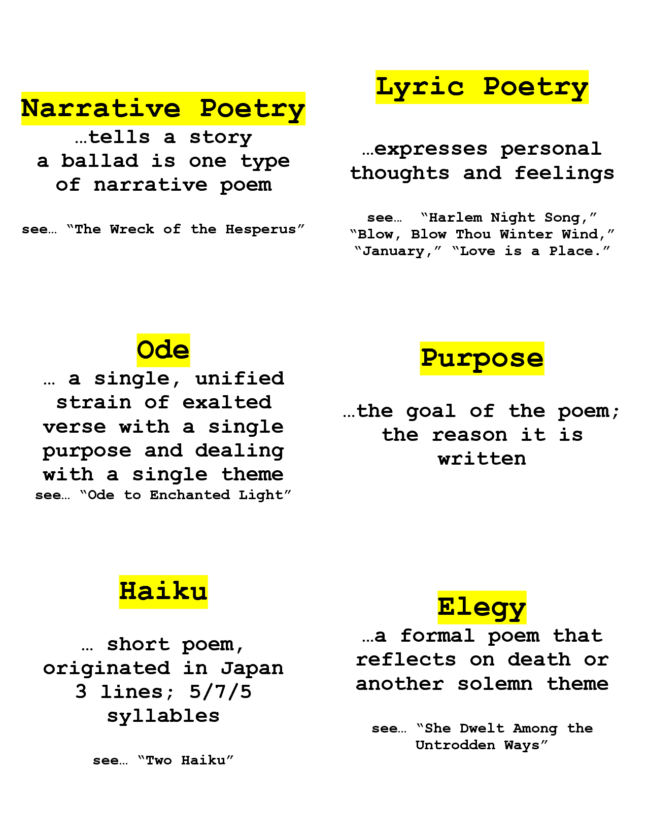 Narrative Poetry Worksheets