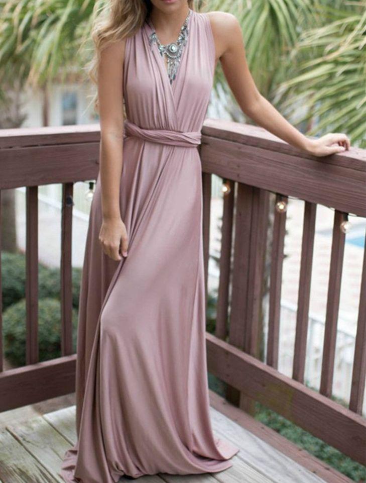 Elegant V Neck Sleeveless Backless Long Prom Dress Prom Long prom
