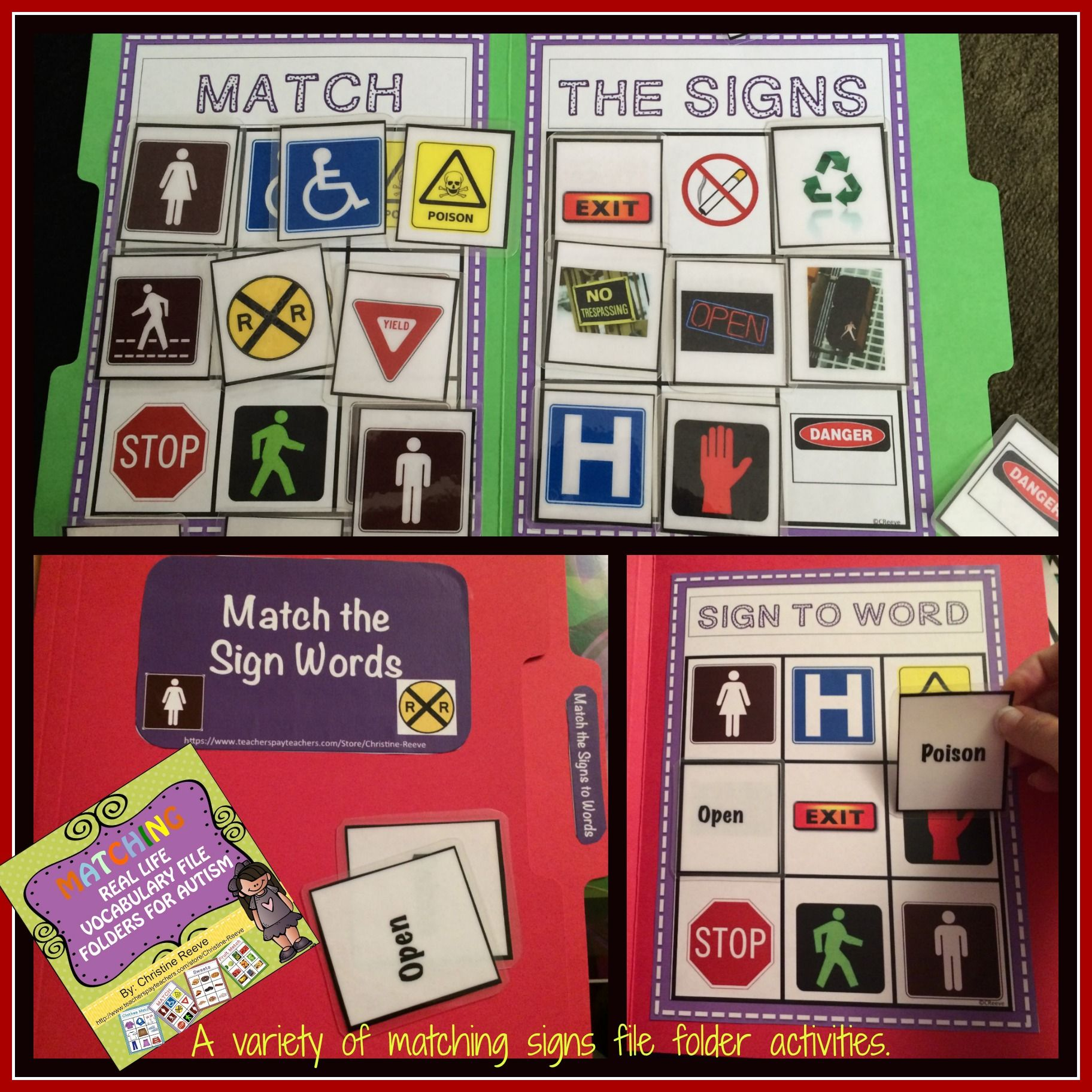 Autism Matching Real Life Vocabulary File Folders Early Childhood Autism