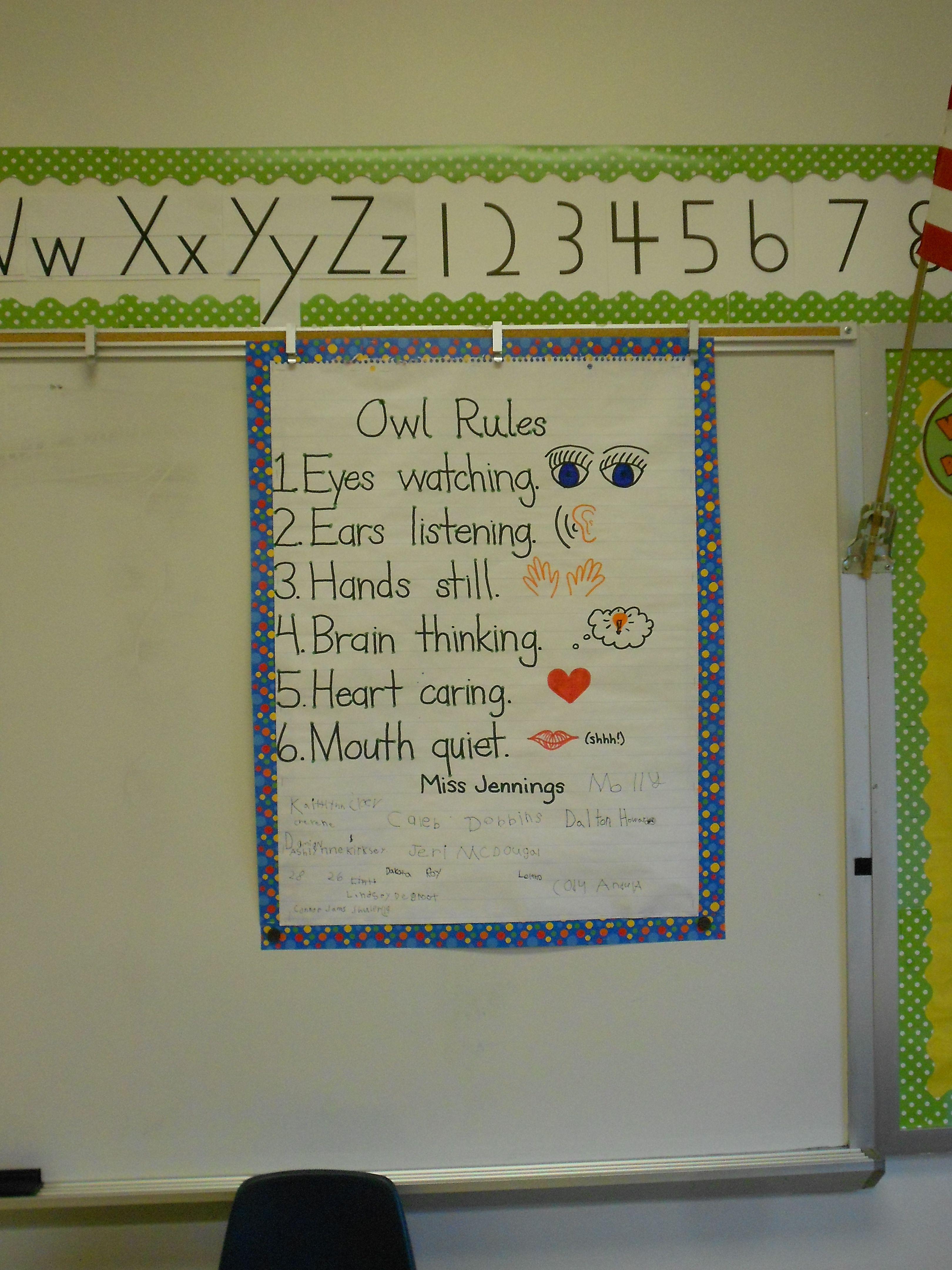 First Grade Social Contract Eyes Watching Ears Listening Mouth Quiet Hands Still Brain