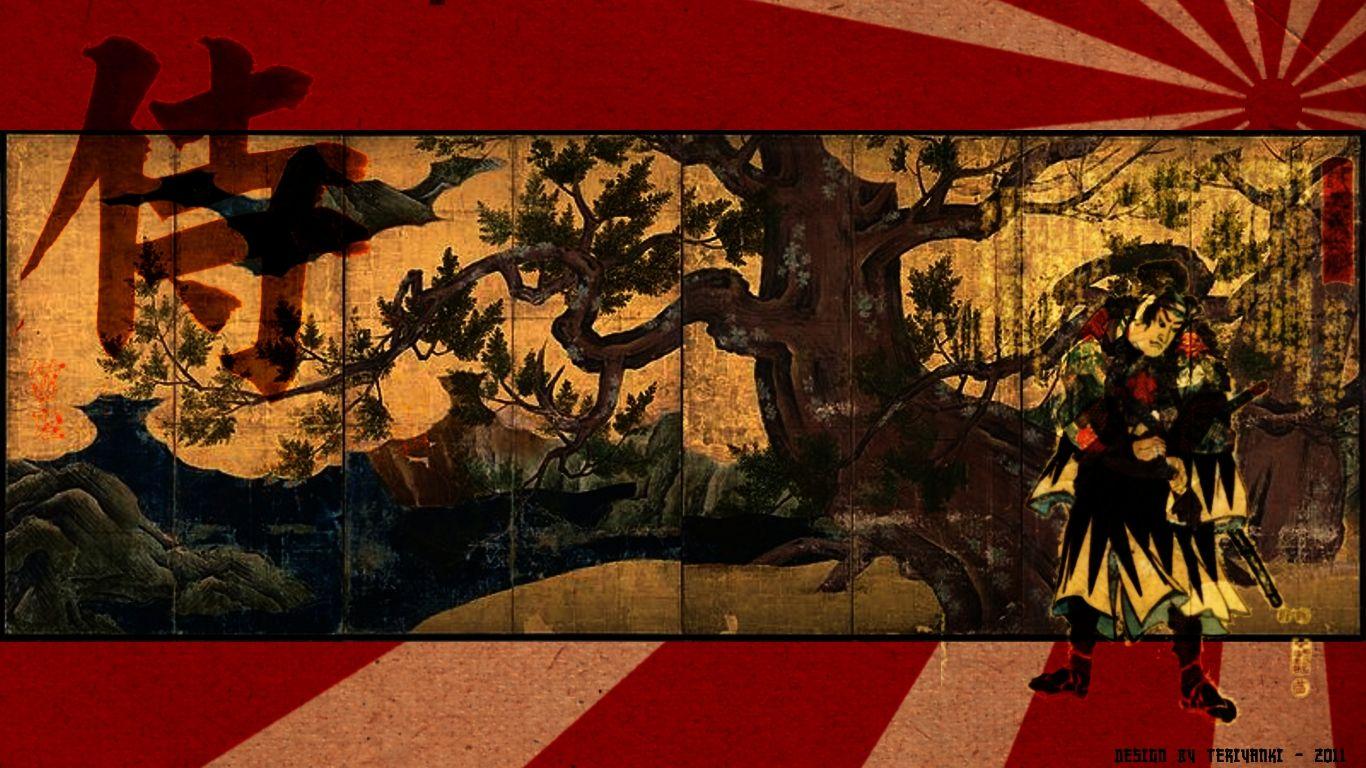 traditional japanese samurai art wallpaper | learn japanese in 90