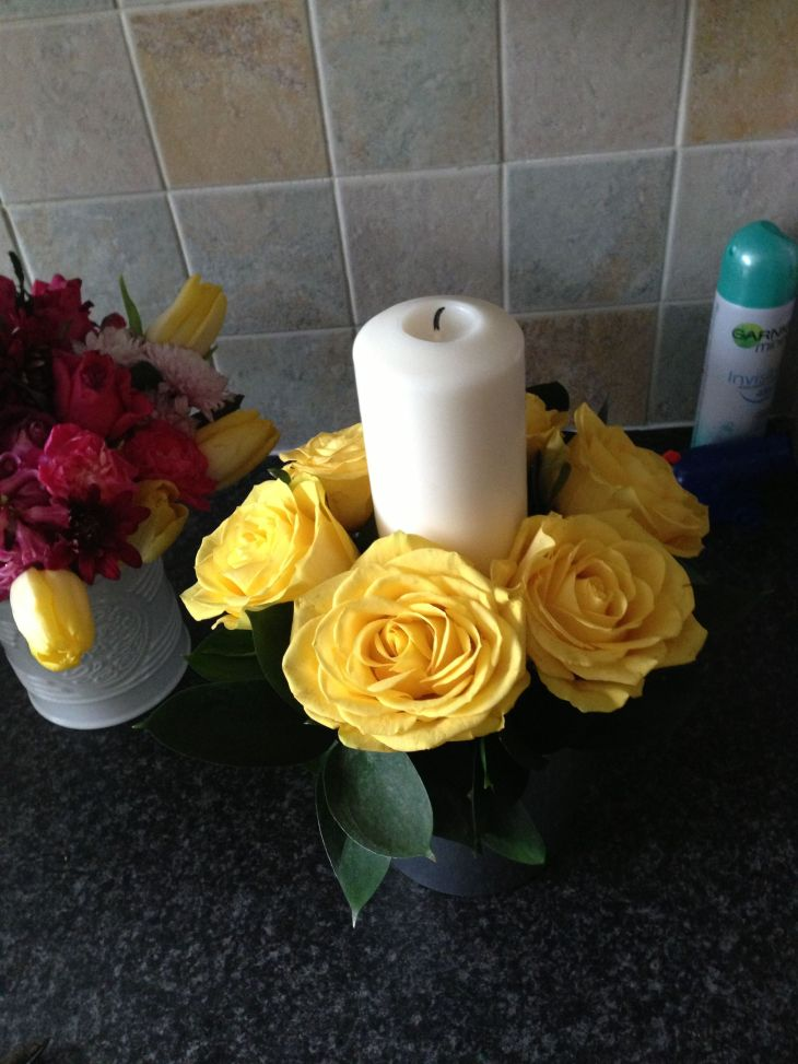 Yellow rose candle pot Flowers Pinterest Flowers