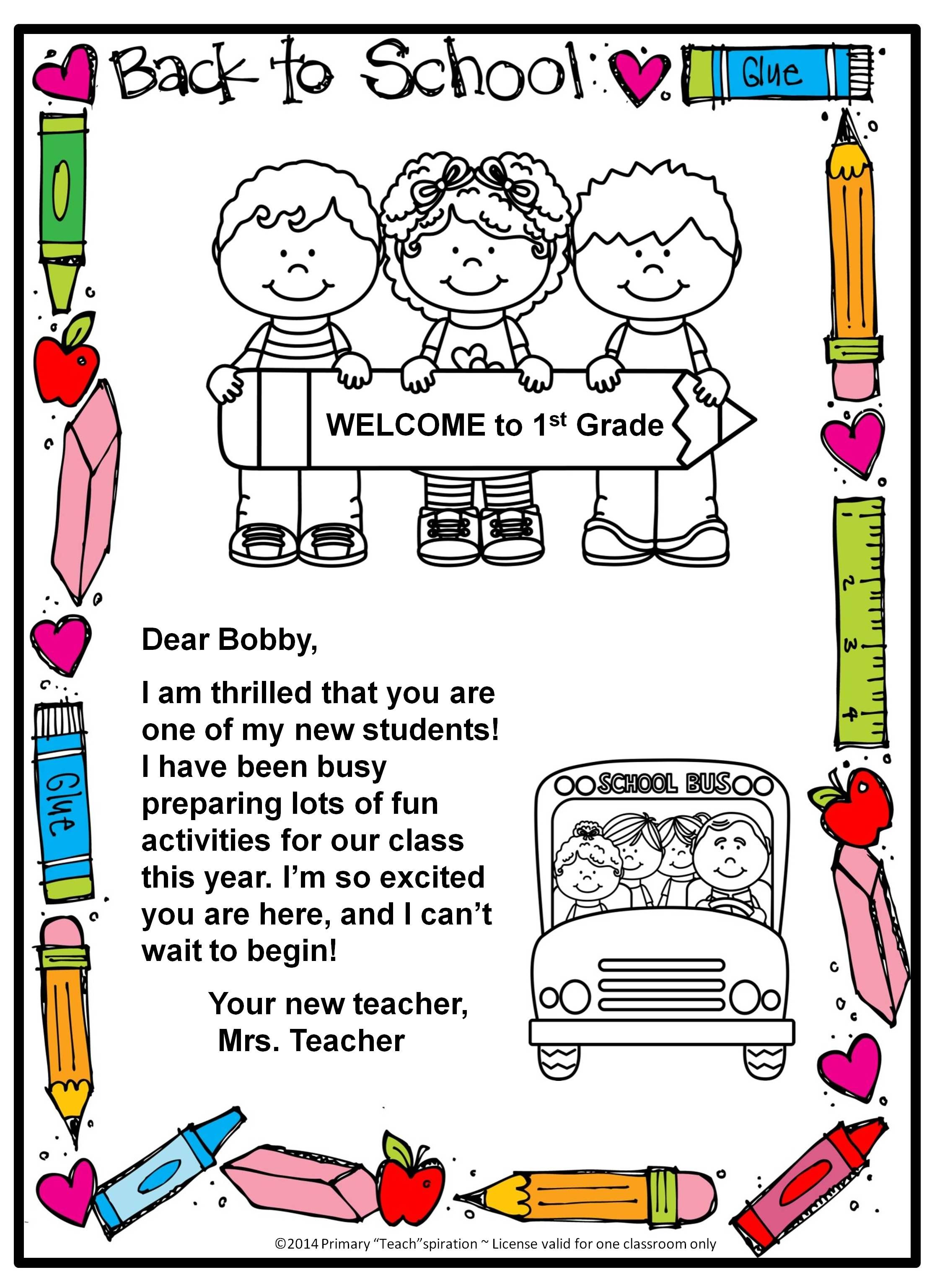 Free Back To School Welcome Letter And Postcard Editable