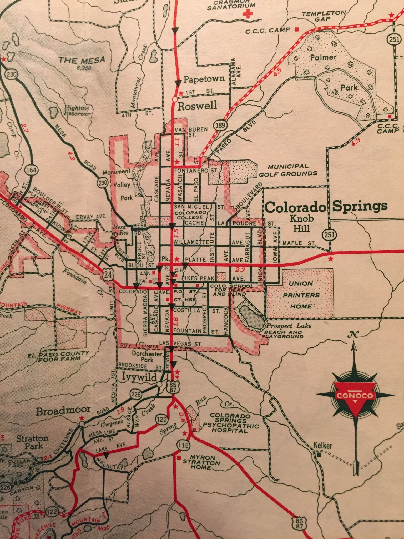 Map of Colorado Springs  by Conoco  No date    circa 1930s 40s     Map of Colorado Springs  by Conoco