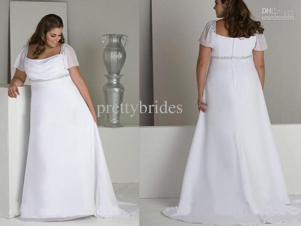 Custom Made Plus Size Floor Length Chiffon Short Sleeve