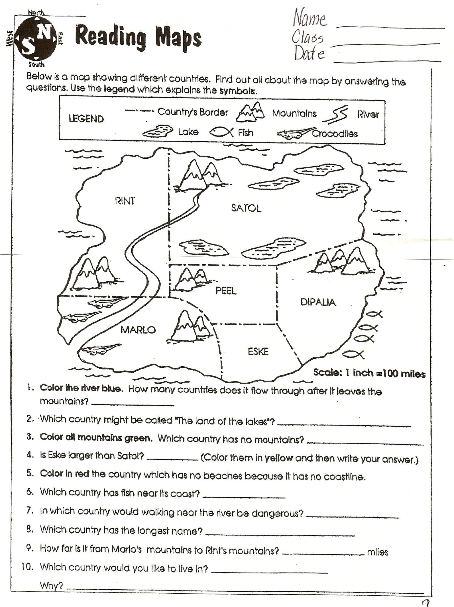 Landforms Worksheet 6th Grade
