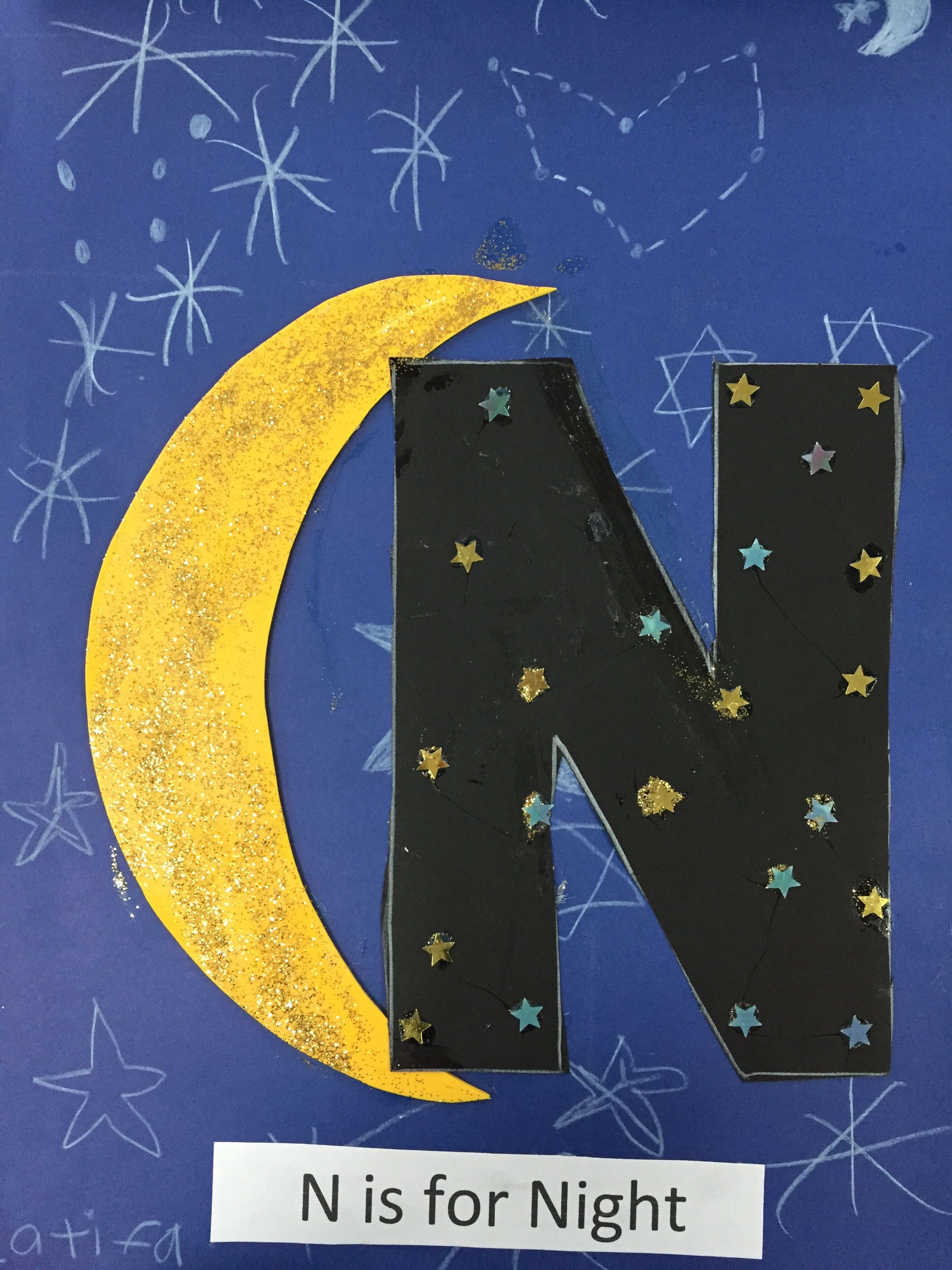 N Is For Night Art Fine Motor Craft Abc Fun Activity For Preschoolers Learning The Vocabulary