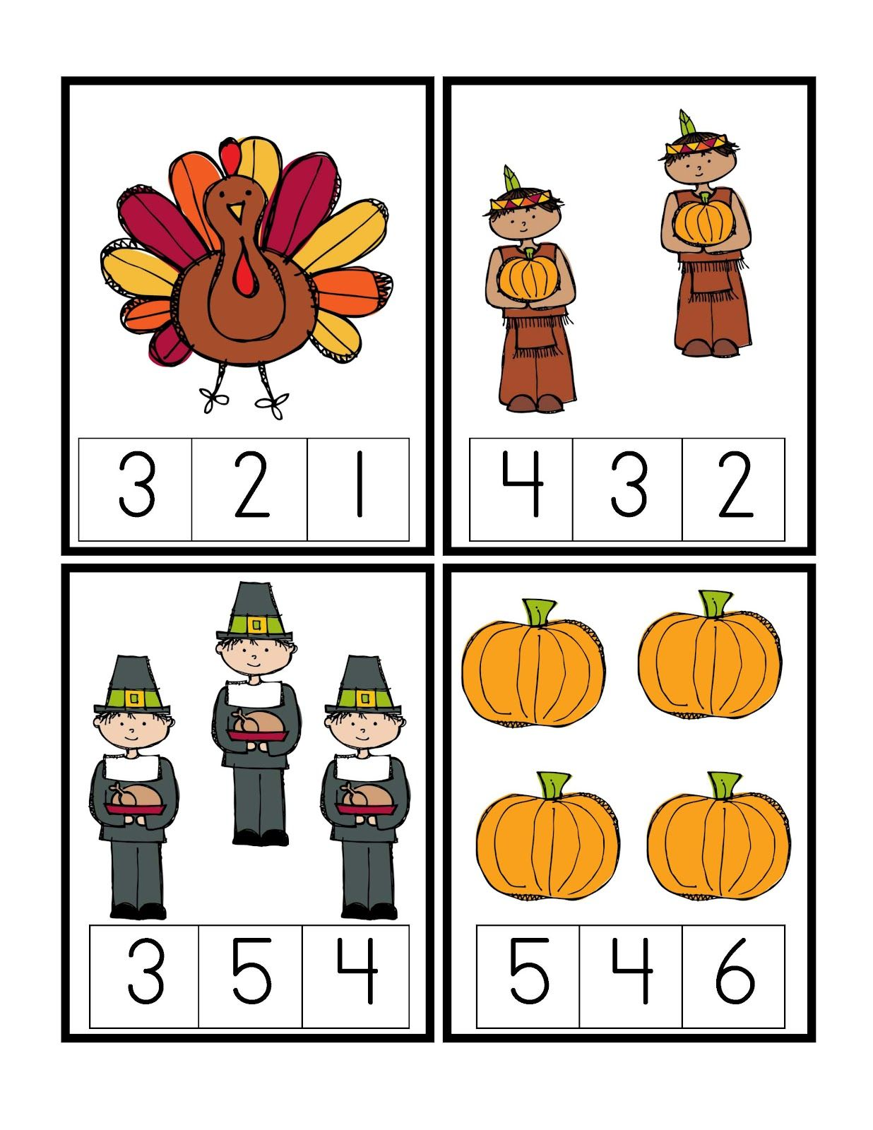 Preschool Printables Thanksgiving