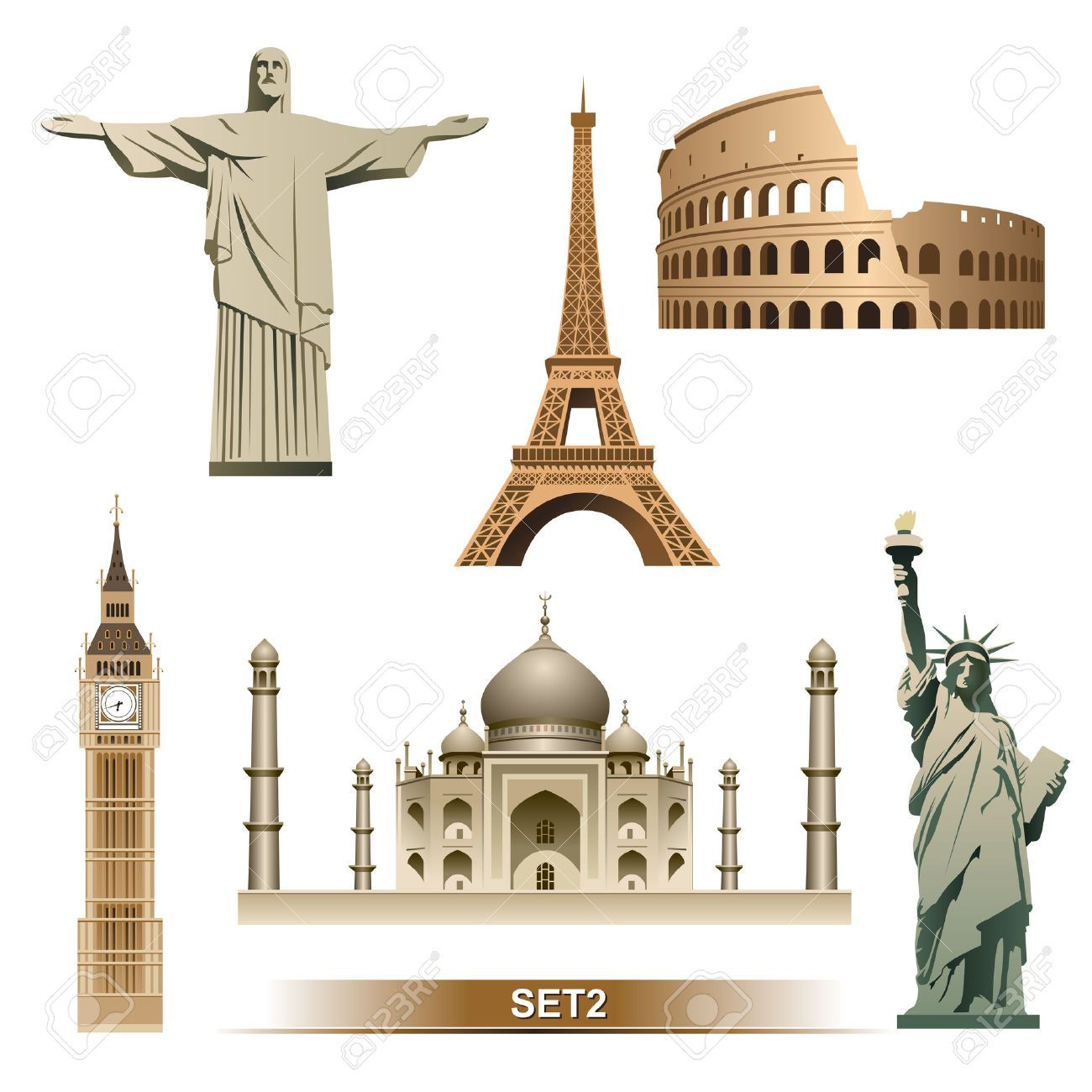 Famous Landmarks Of The World Clip Art Images