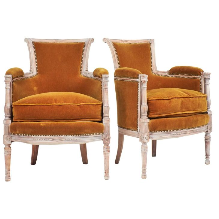 th Century Pair French Directoire Style Bergères Nail head