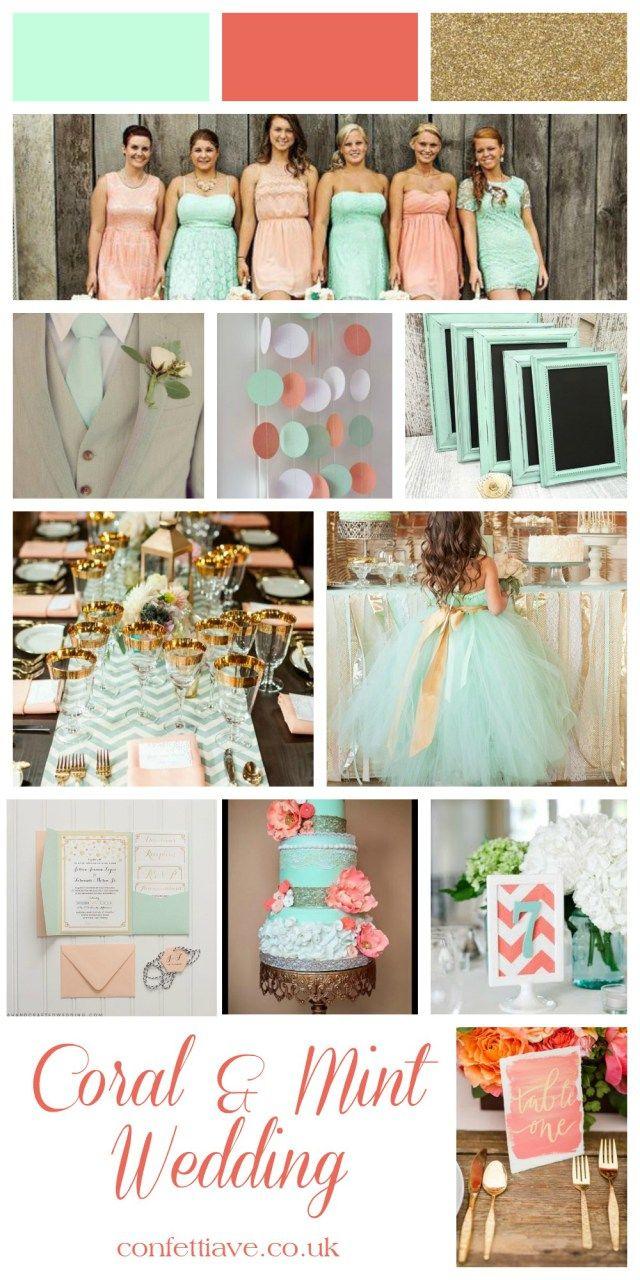 coral and mint wedding mood board  my future wedding ideas