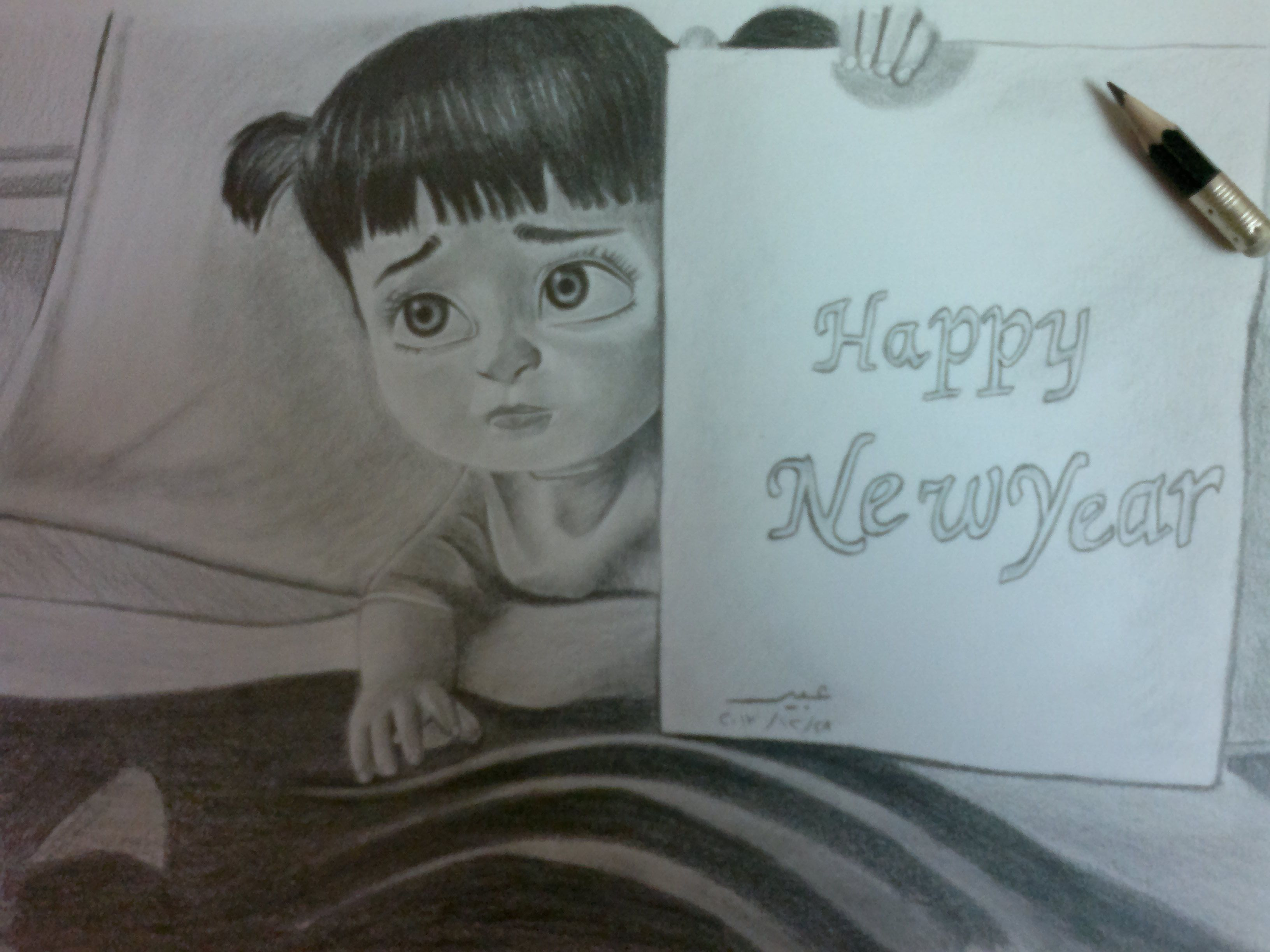 pencil drawing happy new year