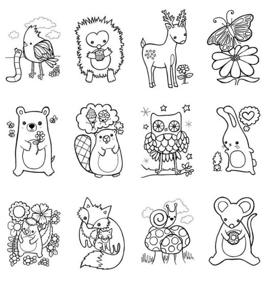 Woodland Animal Coloring Pages Free