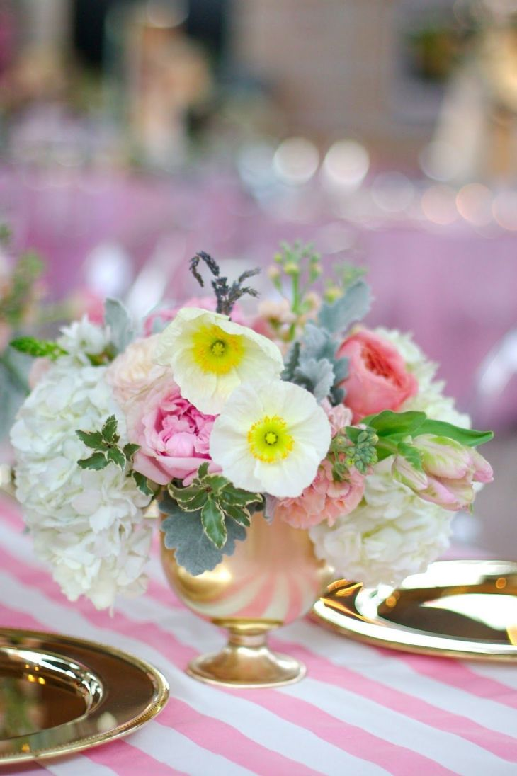 White poppies in a gold vessel  Bows and Arrows  Floral Fix
