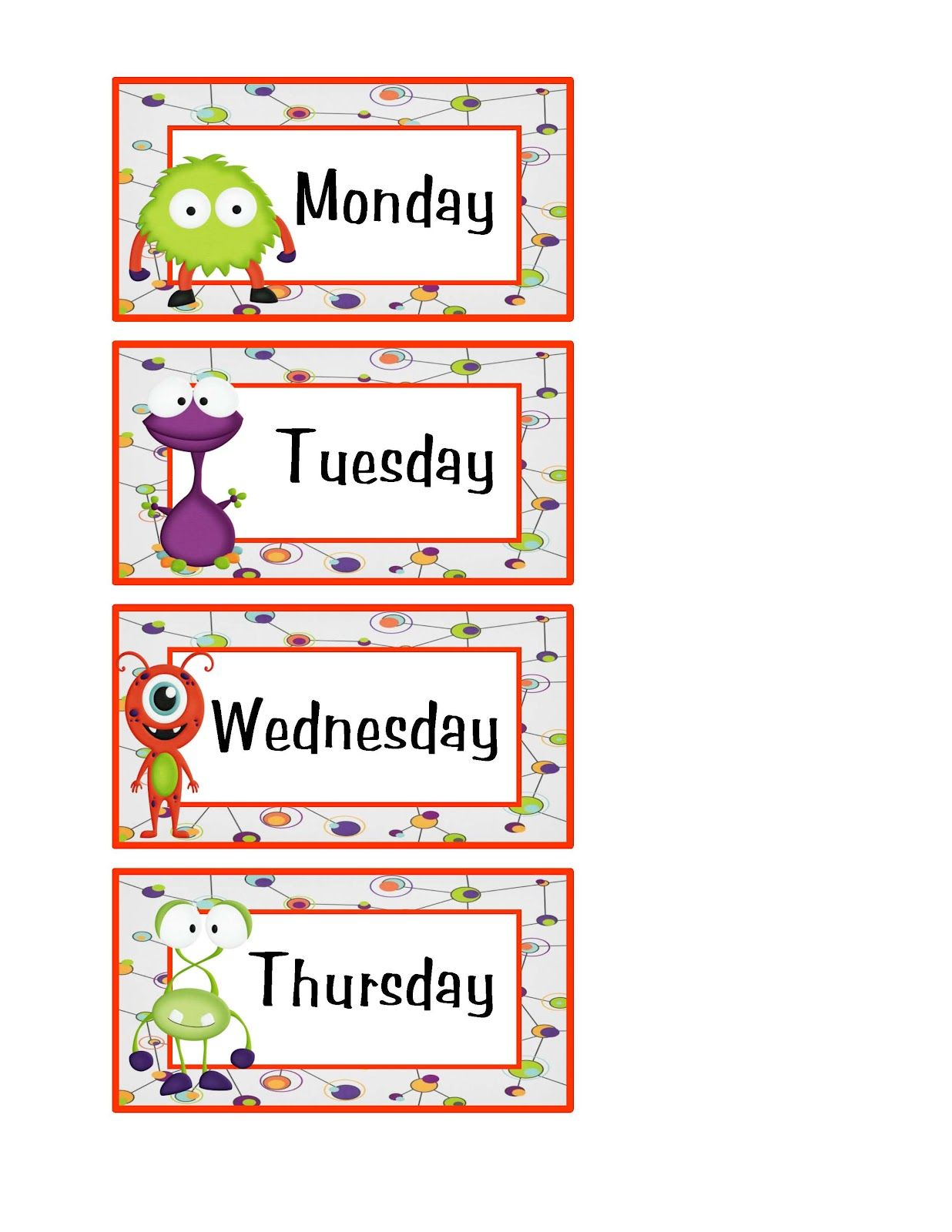 Preschool Printables Little Monster S Days And Month