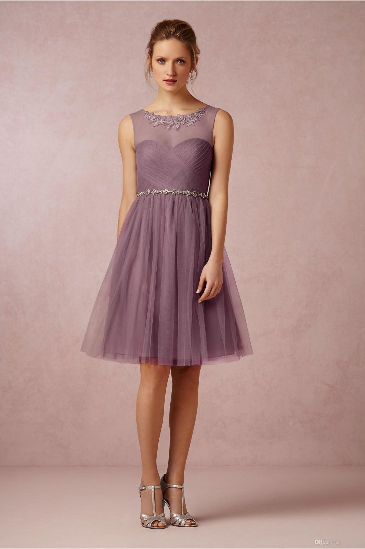 Cheap Soft Plum  Bridesmaid Dress A Line Tulle Sheer Scoop Party