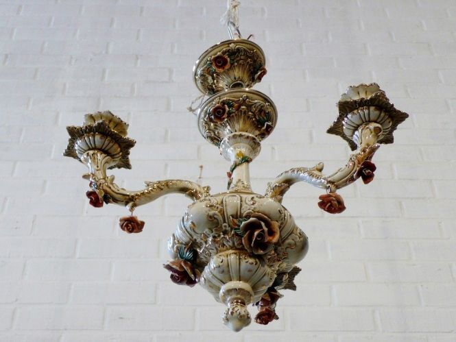 Italian Porcelain Mirror Similar Chandeliers Towards 1940 Antique Trading