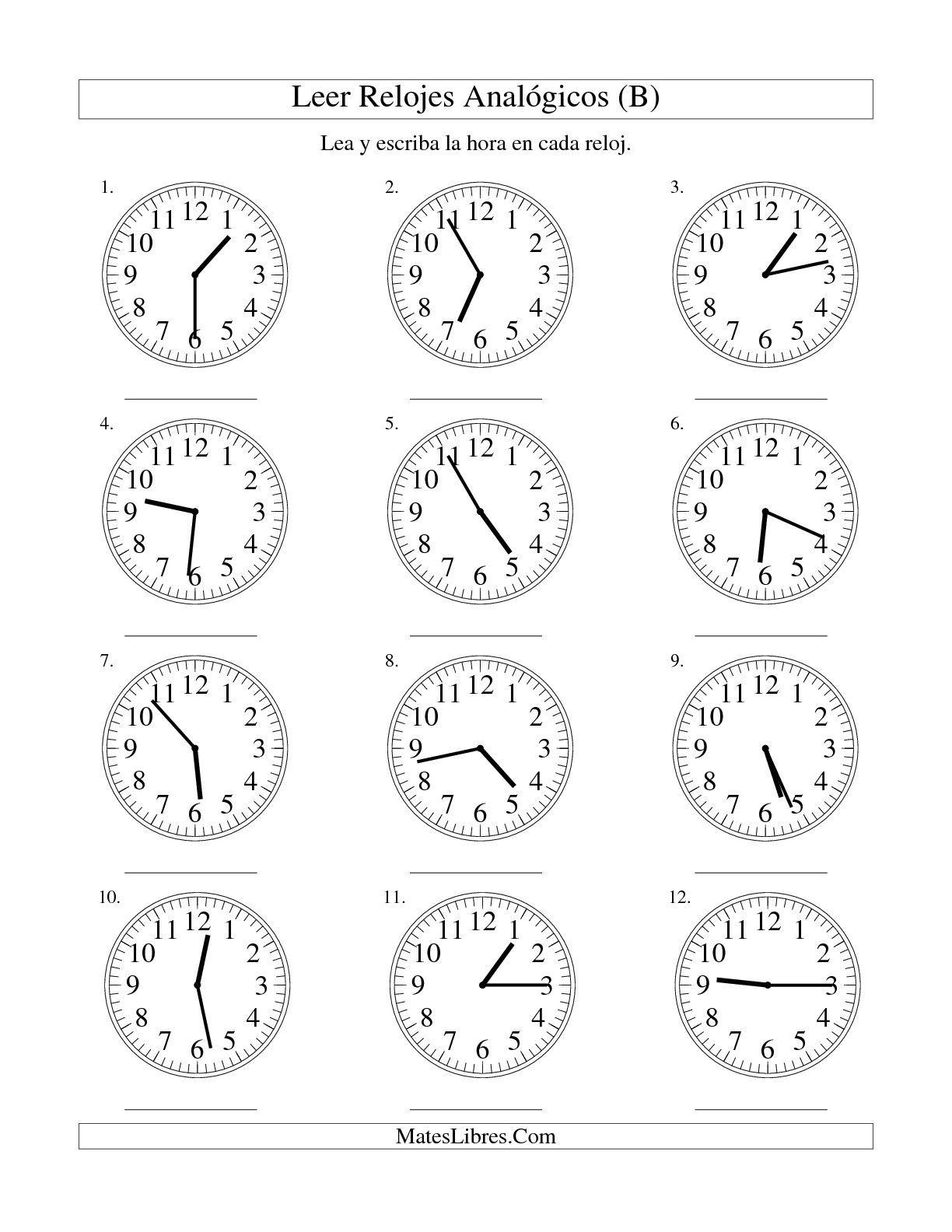 La Hoja De Ejercicios De Matematicas De Leer La Hora En Un Relojogico En Intervalos De 1