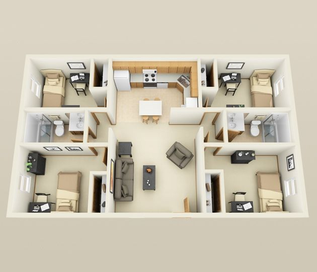 4 Bedroom Apartment House Plans This From First Site Apartments Proves That You Do Not Need A Lot Of E In Order To Have Four Bedrooms