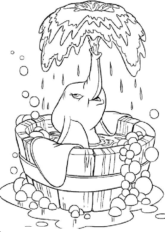 dumbo was taking a shower coloring pages dumbo was taking