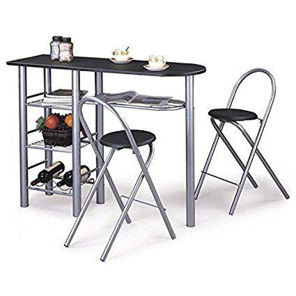 ensemble table haute de bar mange debout et 2 chaises style mdf noir