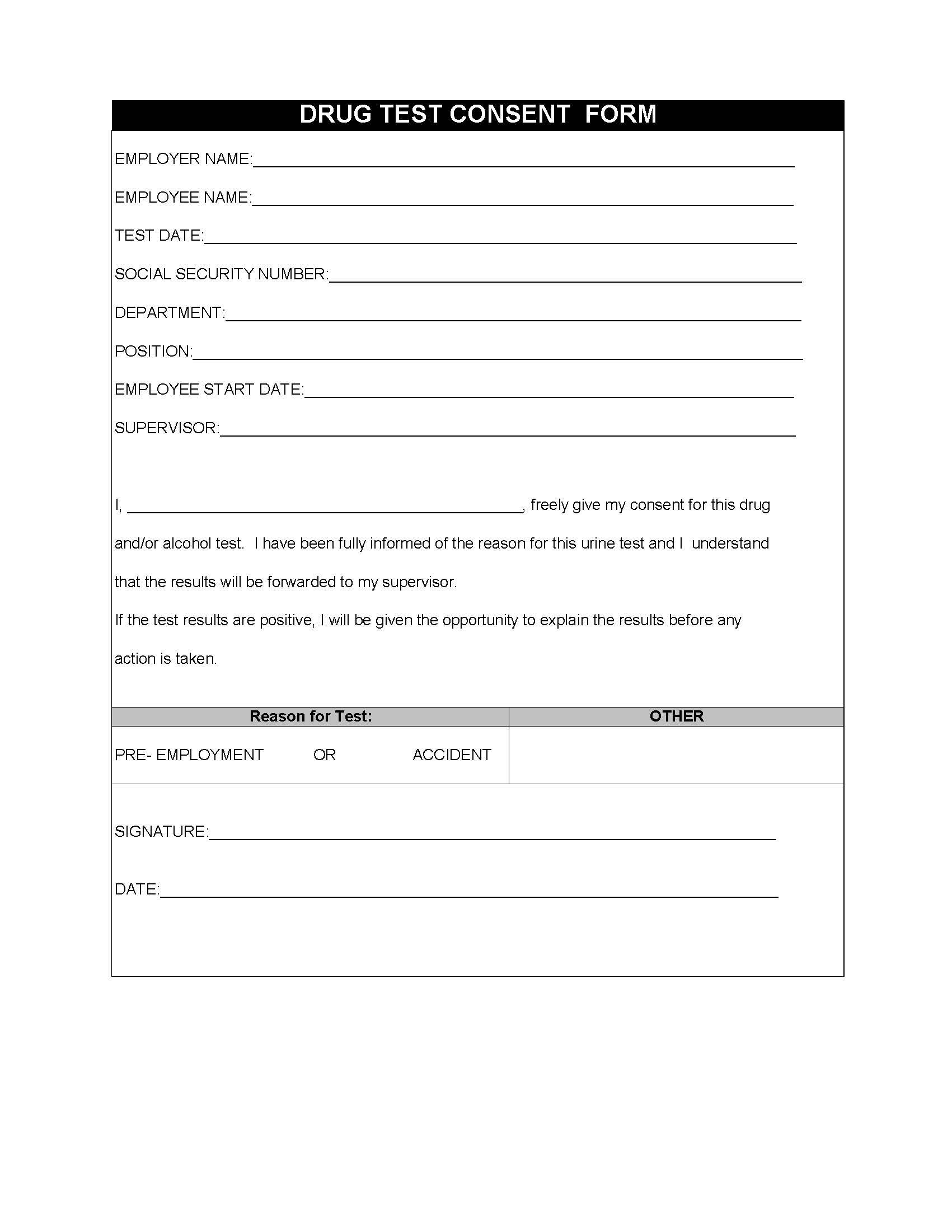 Restaurant Employee Drug Test Consent Form