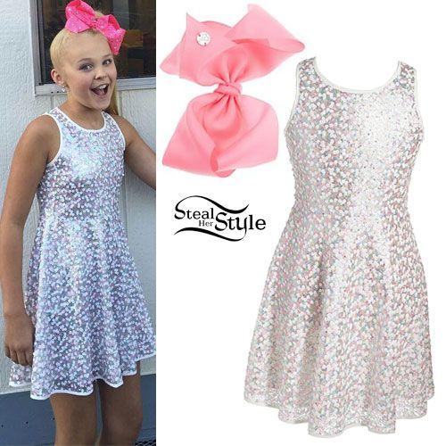 JoJo Siwa White Sequin Skater Dress Dresses Pinterest