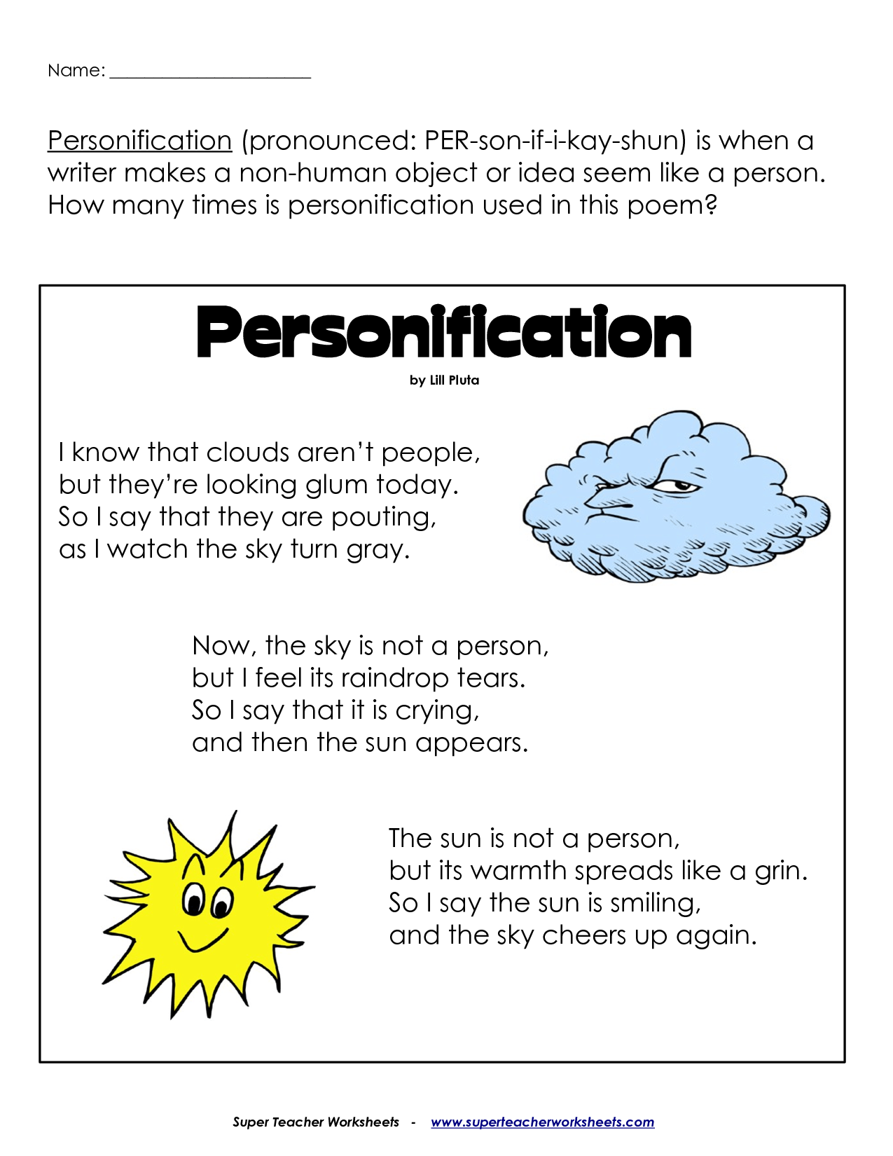 Worksheet On Personification